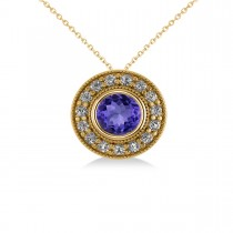 Round Tanzanite & Diamond Halo Pendant Necklace 14k Yellow Gold (1.86ct)