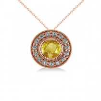 Round Yellow Sapphire & Diamond Halo Pendant Necklace 14k Rose Gold (1.86ct)