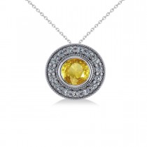 Round Yellow Sapphire & Diamond Halo Pendant Necklace 14k White Gold (1.86ct)