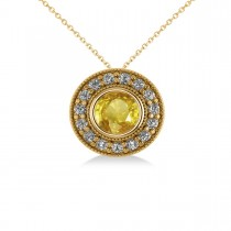 Round Yellow Sapphire & Diamond Halo Pendant Necklace 14k Round Yellow Gold (1.86ct)