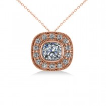 Diamond Halo Cushion Pendant Necklace 14k Rose Gold (1.26ct)