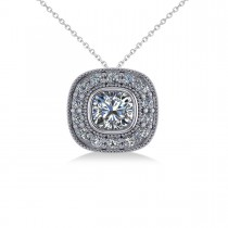 Diamond Halo Cushion Pendant Necklace 14k White Gold (1.26ct)