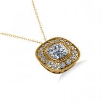 Diamond Halo Cushion Pendant Necklace 14k Yellow Gold (1.26ct)