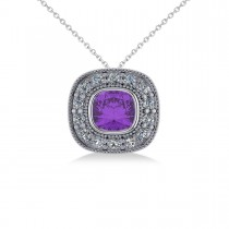 Amethyst & Diamond Halo Cushion Pendant Necklace 14k White Gold (1.27ct)