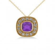 Amethyst & Diamond Halo Cushion Pendant Necklace 14k Yellow Gold (1.27ct)