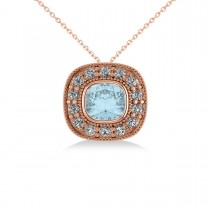 Aquamarine & Diamond Halo Cushion Pendant Necklace 14k Rose Gold (1.23ct)