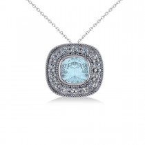 Aquamarine & Diamond Halo Cushion Pendant Necklace 14k White Gold (1.23ct)