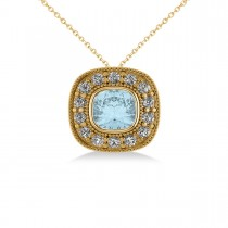 Aquamarine & Diamond Halo Cushion Pendant Necklace 14k Yellow Gold (1.23ct)