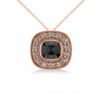 Black Diamond & Diamond Halo Cushion Pendant Necklace 14k Rose Gold (1.26ct)