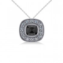 Black Diamond & Diamond Halo Cushion Pendant Necklace 14k White Gold (1.26ct)
