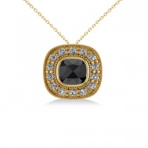 Black Diamond & Diamond Halo Cushion Pendant Necklace 14k Yellow Gold (1.26ct)