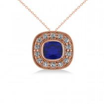 Blue Sapphire & Diamond Halo Cushion Pendant Necklace 14k Rose Gold (1.62ct)