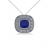 Blue Sapphire & Diamond Halo Cushion Pendant Necklace 14k White Gold (1.62ct)