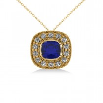 Blue Sapphire & Diamond Halo Cushion Pendant Necklace 14k Yellow Gold (1.62ct)