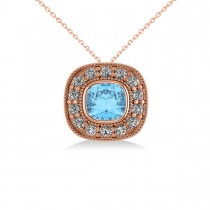 Blue Topaz & Diamond Halo Cushion Pendant Necklace 14k Rose Gold (1.67ct)