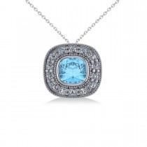 Blue Topaz & Diamond Halo Cushion Pendant Necklace 14k White Gold (1.67ct)