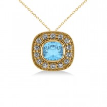 Blue Topaz & Diamond Halo Cushion Pendant Necklace 14k Yellow Gold (1.67ct)