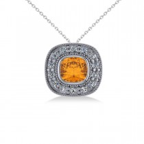 Citrine & Diamond Halo Cushion Pendant Necklace 14k White Gold (1.27ct)