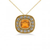 Citrine & Diamond Halo Cushion Pendant Necklace 14k Yellow Gold (1.27ct)