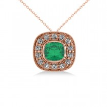 Emerald & Diamond Halo Cushion Pendant Necklace 14k Rose Gold (1.22ct)