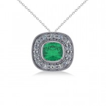 Emerald & Diamond Halo Cushion Pendant Necklace 14k White Gold (1.22ct)