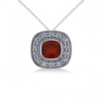 Garnet & Diamond Halo Cushion Pendant Necklace 14k White Gold (1.62ct)