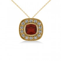 Garnet & Diamond Halo Cushion Pendant Necklace 14k Yellow Gold (1.62ct)