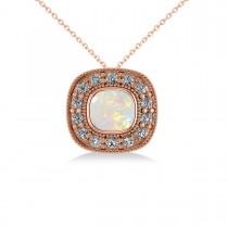 Opal & Diamond Halo Cushion Pendant Necklace 14k Rose Gold (0.97ct)