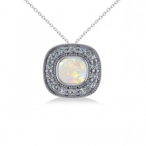 Opal & Diamond Halo Cushion Pendant Necklace 14k White Gold (0.97ct)