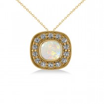 Opal & Diamond Halo Cushion Pendant Necklace 14k Yellow Gold (0.97ct)