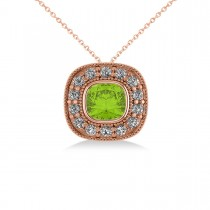 Peridot & Diamond Halo Cushion Pendant Necklace 14k Rose Gold (1.52ct)