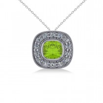 Peridot & Diamond Halo Cushion Pendant Necklace 14k White Gold (1.52ct)