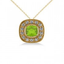 Peridot & Diamond Halo Cushion Pendant Necklace 14k Yellow Gold (1.52ct)