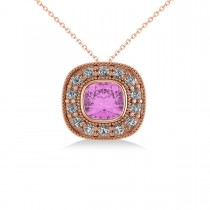 Pink Sapphire & Diamond Halo Cushion Pendant Necklace 14k Rose Gold (1.62ct)