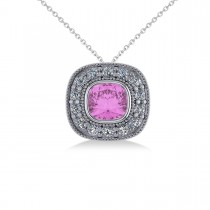 Pink Sapphire & Diamond Halo Cushion Pendant Necklace 14k White Gold (1.62ct)