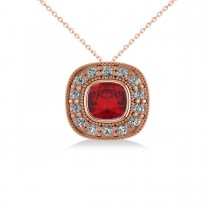 Ruby & Diamond Halo Cushion Pendant Necklace 14k Rose Gold (1.62ct)