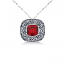 Ruby & Diamond Halo Cushion Pendant Necklace 14k White Gold (1.62ct)