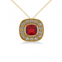 Ruby & Diamond Halo Cushion Pendant Necklace 14k Yellow Gold (1.62ct)