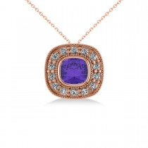 Tanzanite & Diamond Halo Cushion Pendant Necklace 14k Rose Gold (1.62ct)