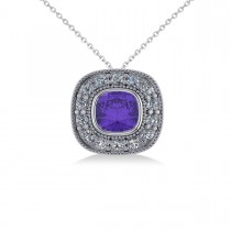 Tanzanite & Diamond Halo Cushion Pendant Necklace 14k White Gold (1.62ct)