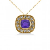 Tanzanite & Diamond Halo Cushion Pendant Necklace 14k Yellow Gold (1.62ct)
