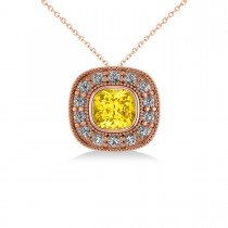 Yellow Sapphire & Diamond Halo Cushion Pendant Necklace 14k Rose Gold (1.62ct)