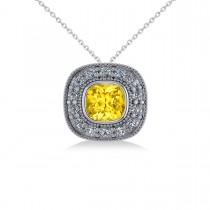 Yellow Sapphire & Diamond Halo Cushion Pendant Necklace 14k White Gold (1.62ct)