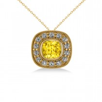 Yellow Sapphire & Diamond Halo Cushion Pendant Necklace 14k Yellow Gold (1.62ct)
