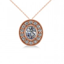 Diamond Halo Oval Pendant Necklace 14k Rose Gold (1.18ct)