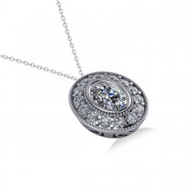 Diamond Halo Oval Pendant Necklace 14k White Gold (1.18ct)