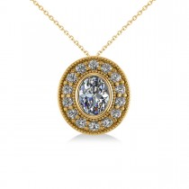 Diamond Halo Oval Pendant Necklace 14k Yellow Gold (1.18ct)