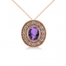 Amethyst & Diamond Halo Oval Pendant Necklace 14k Rose Gold (1.27ct)