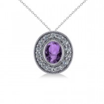 Amethyst & Diamond Halo Oval Pendant Necklace 14k White Gold (1.27ct)
