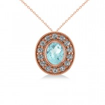 Aquamarine & Diamond Halo Oval Pendant Necklace 14k Rose Gold (1.17ct)